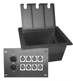recessed stage box with 8 xlr female and 2 AC  power outlet duplexes