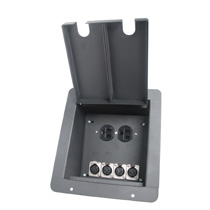 recessed floor box with 4 XLR Female and 2 AC Power