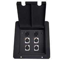 recessed floor box with 3 xlr female and 1 RJ45 data ethercon