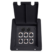 recessed floor box with 6 xlr female and 2 RJ45 data ethercon