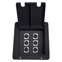 recessed floor box with 6 xlr mic female