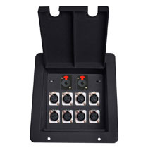 in floor drop recessedaudio box with 8 xlr mic female and 2 TRS1/4