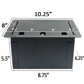 recessed audio floor box  with AC duplex dimensions