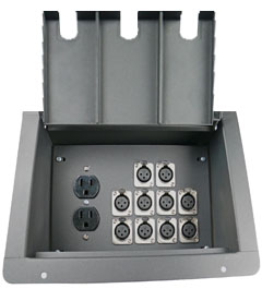 recessed floor box with 10 xlr female and 2 AC  power outlet duplexes