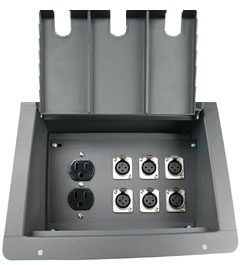 recessed floor box with 6 xlr female and 2 AC  power outlet duplexes