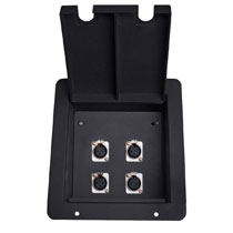 recessed floor box with 4 xlr female