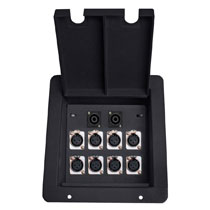 recessed floor box with 8 xlr female and 2 RJ45 data ethercon